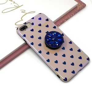 Accessories - iPhone Pink Polka Heart Case w/Bling Pop Grip